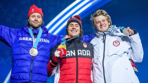 GANGNEUNG, SOUTH KOREA - FEBRUARY 24: Sébastien Toutant receives his Olympic gold medal, after finishing first in the Snowboard Big Air at the PyeongChang Olympic Plaza during the PyeonChang Olympic Winter Games in Gangneung, South Korea on February 24, 2018. (Photo by Vincent Ethier/COC)