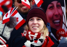 Canada fans watch the Freestyle Skiing Ladies Moguls Qualification 1 event at Phoenix Snow Park on February 9, 2018 in Pyeongchang, South Korea. (Photo by Vaughn Ridley/COC)