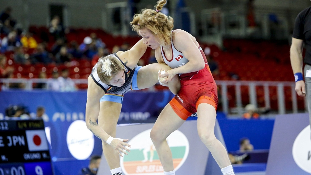 Team Canada wrestler Diana Weicker competes at the 2018 World Wrestling Championships