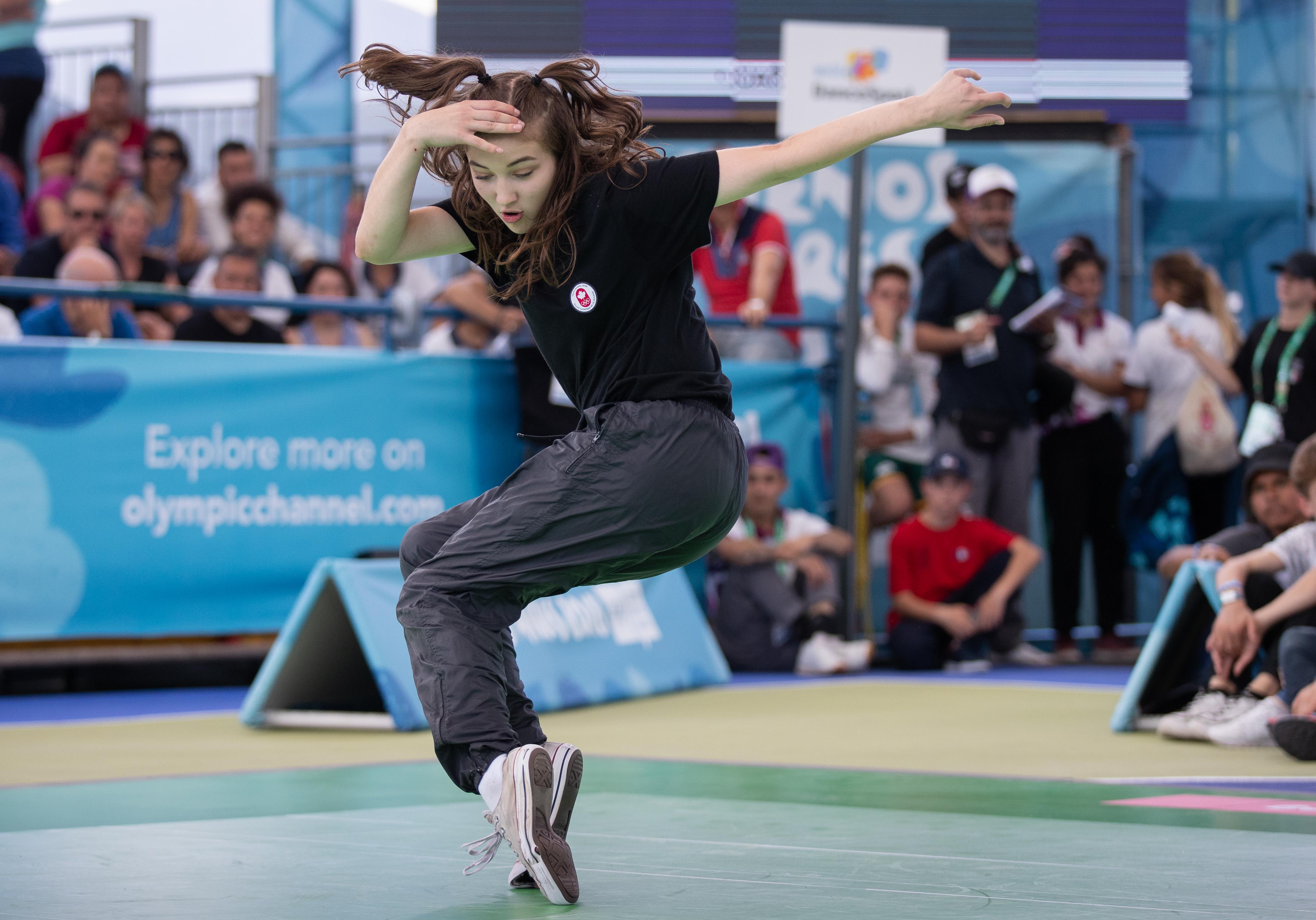 Break dancer competing