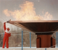 The Olympic flame burns bright over Calgary's McMahon Stadium Saturday, Feb. 13, 1988, after 12-year-old Robyn Perry, a novice figure skater from Calgary, held the torch aloft to light the massive cauldron and light the flame which will burn for16 days. THE CANADIAN PRESS/Philip Walker