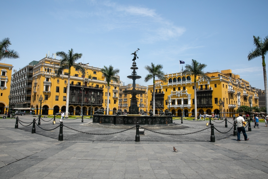 Yellow buildings with palm trees in front