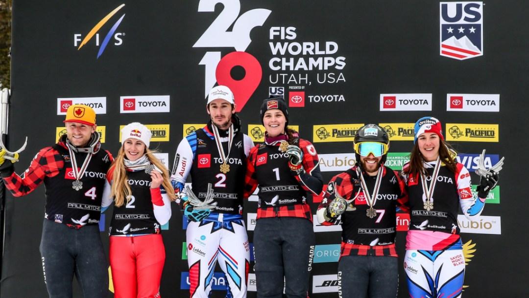 Ski Cross World Championship Group Podium