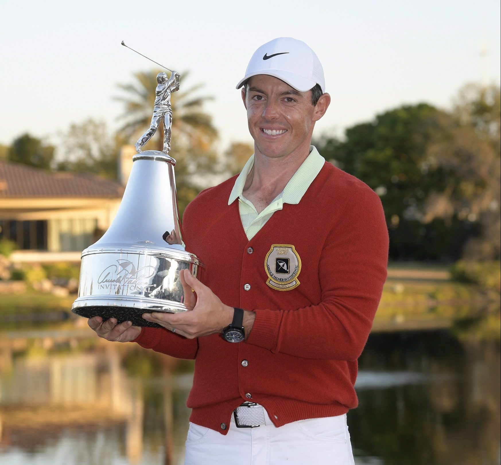 Rory McIlroy with the champion trophy at the 2018 Arnold Palmer Invitational