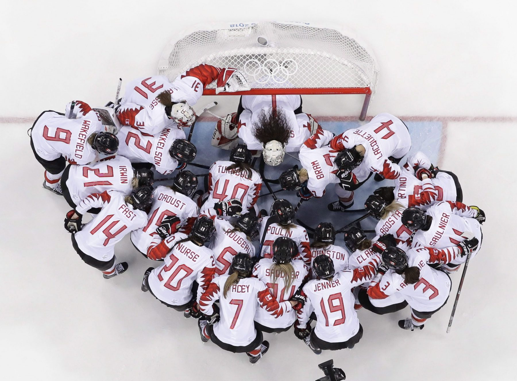 Overhead shot of Team Canada women's hockey players around the net