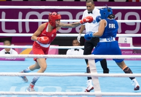 Team Canada's Tammara Thilbeault wins bronze in the middle weight boxing at the Lima 2019 Pan American Games