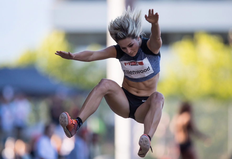 Georgia Ellenwood, of Langley, B.C., competes in the women's long jump
