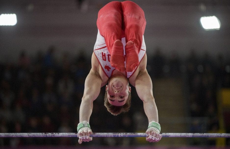 Samuel Zakutney of Canada competes in mens artistic gymnastics