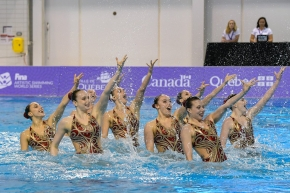 Synchronized swimming team in the water