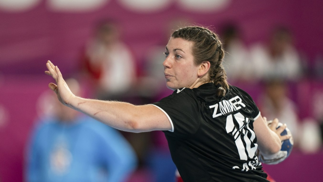 Team Canada's Myriam Zimmer gets ready to throw the ball