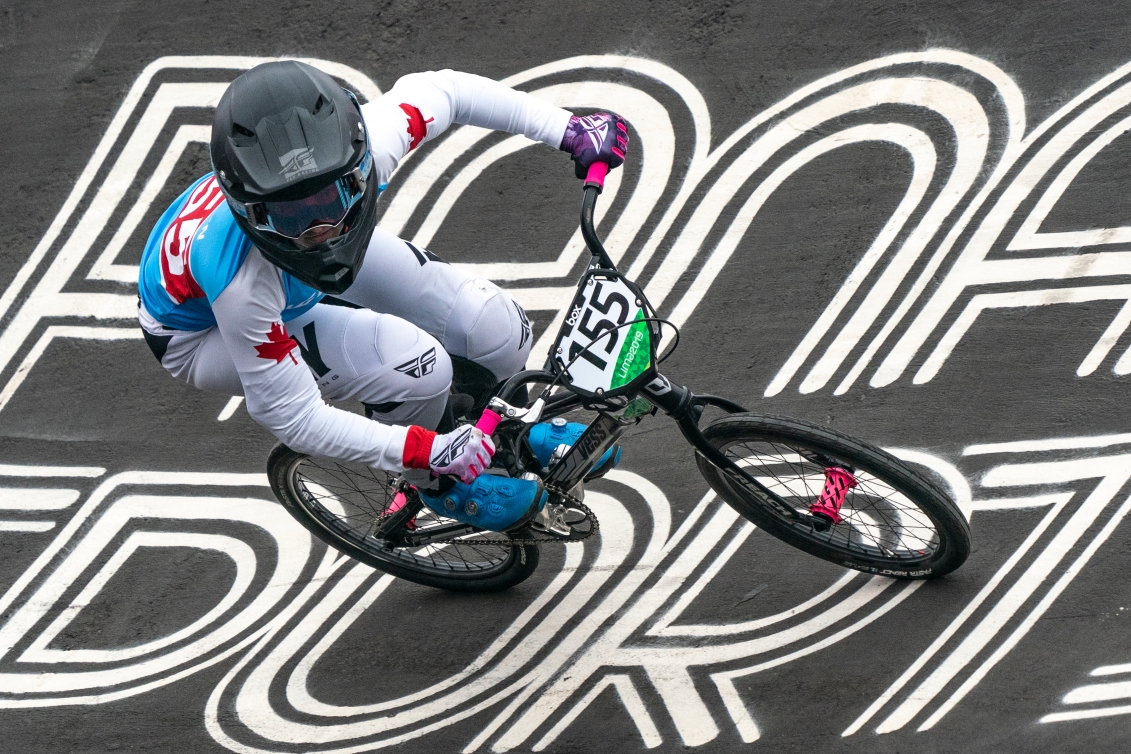 Drew Mechielsen of Canada competes in the semi finals of womens BMX race at the Pan American Games