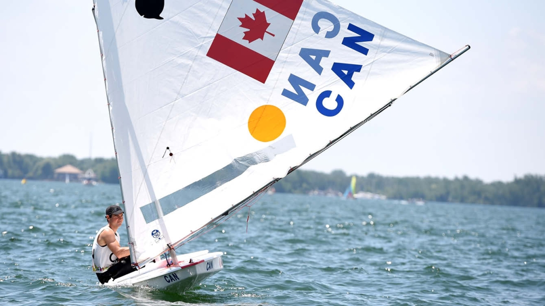 Sailing athlete in boat