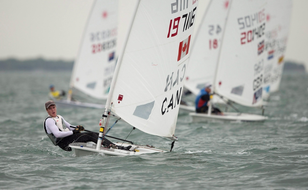 Alexander Heinzemann, from Canada, leads a pack of laser sail boats in Miami