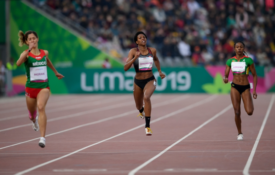 Kyra Constantine of Canada, middle, competes in the women's 400m final at the Lima 2019 Pan American Games on August 08, 2019.