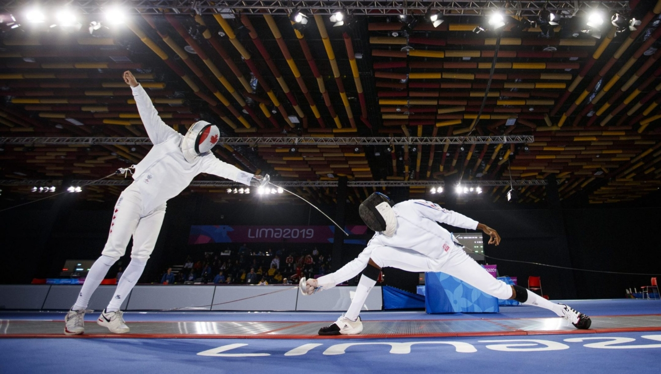 Marc-Antoine Blais Belanger of Canada competes during the men's individual epee at the Lima 2019 Pan American Games