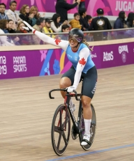 Kelsey Mitchell competes in the womenÕs sprint
