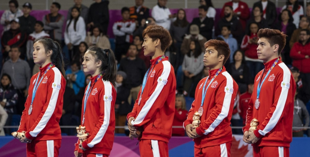 Canada's taekwondo team stands with medals
