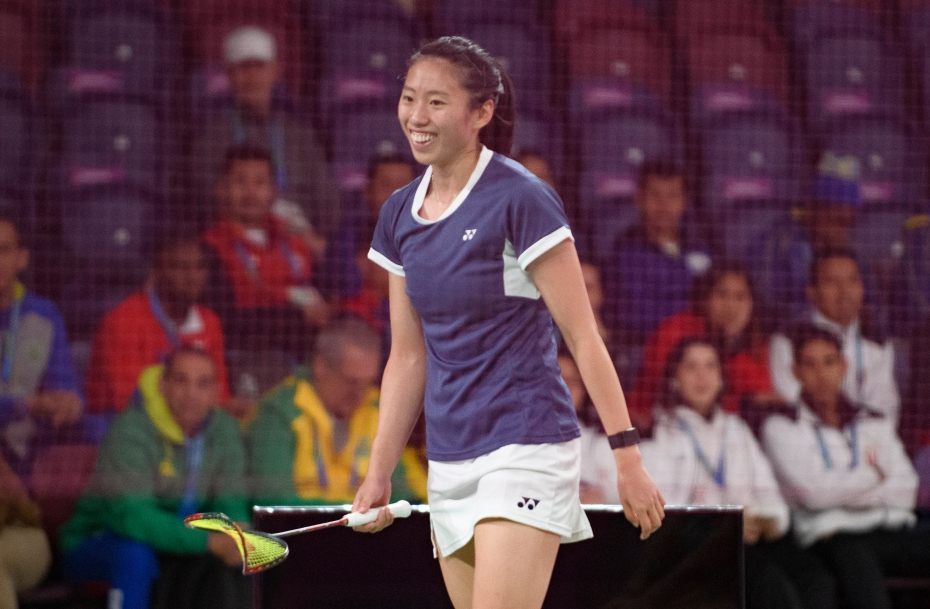 Rachel Honderich and Kristen Tsa compete in badminton at the Lima 2019 Pan American Games on July 31, 2019