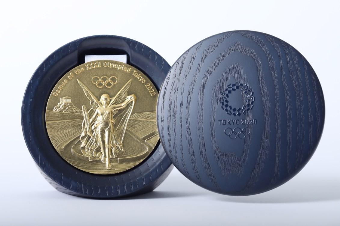 Tokyo 2020 gold medal in case.