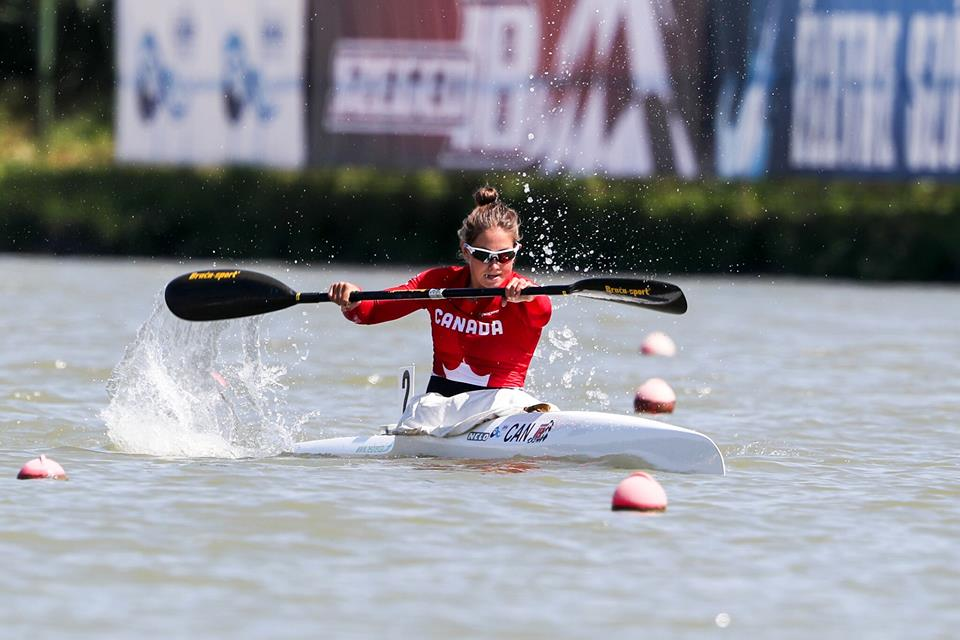 Alanna Bray-Lougheed competes during a canoe-kayak/sprint event.