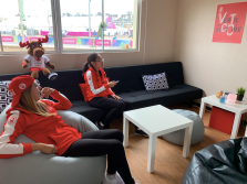 Athletes hanging out in the lounge