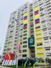 Building in village with brazil flag