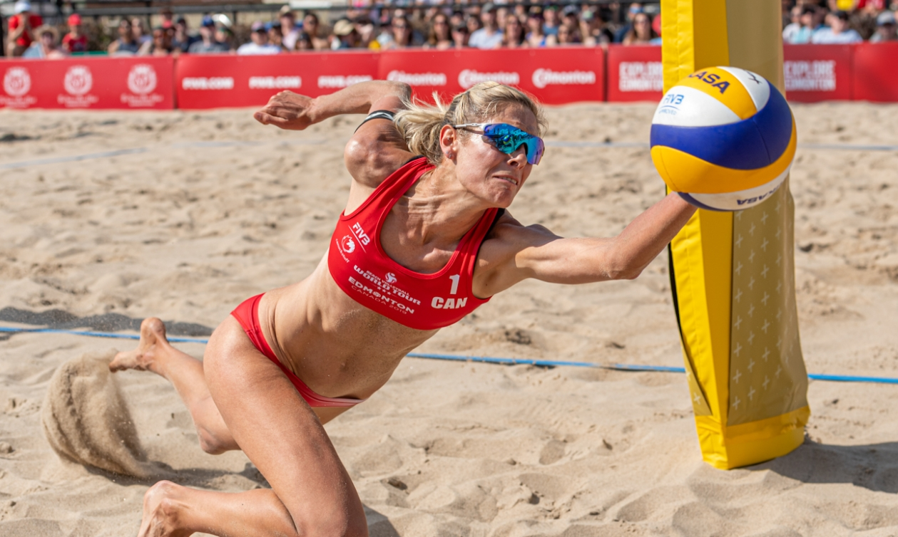 Canada's Sarah Pavan and Melissa Humana-Paredes (not pictured), advanced to the final of the FIVB World Tour event in Edmonton on Saturday with a 2-0 (21-16, 22-20) victory of Japan's Akiko Hasegawa and Azusa Futami.