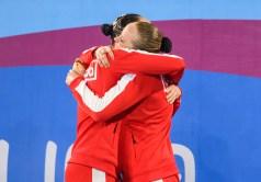 Claudia Holzner and Jacqueline Simoneau hug