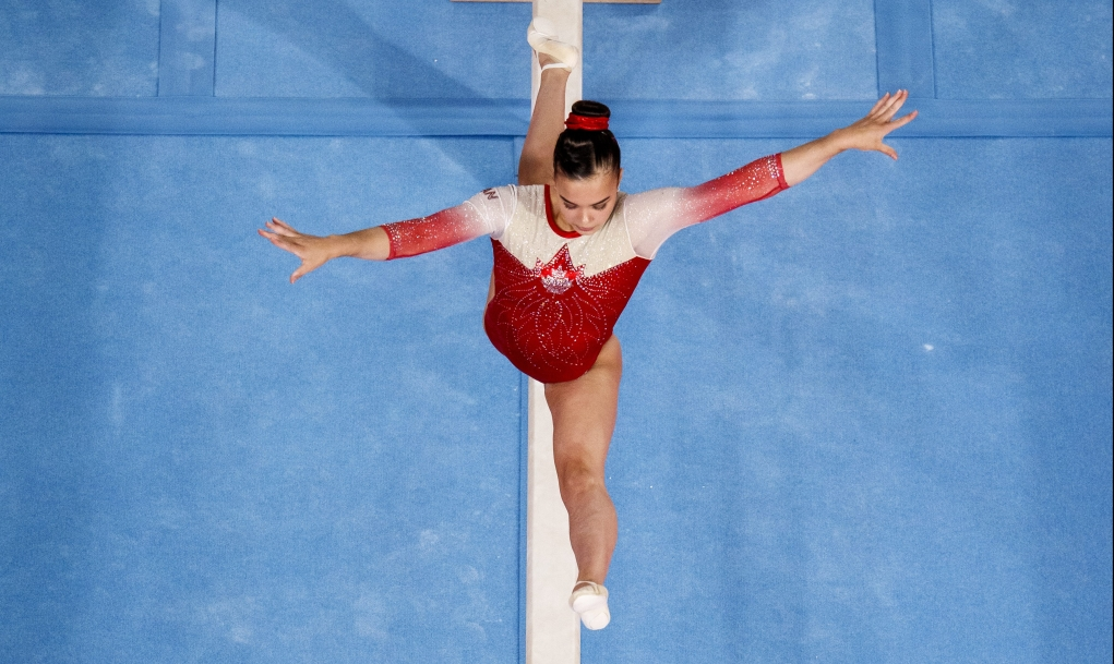 Brooklyn Moors of Canada competes in the during artistic gymnastics