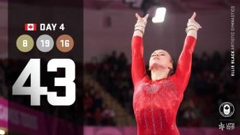 Lima day 4 graphic, Ellie Black competing in gymnastics