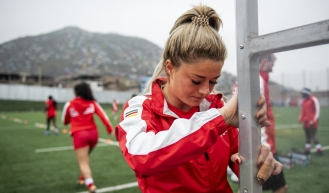 Delaney Aikens of Canada gets ready to face Mexico in rugby sevens action at the Lima 2019 Pan American Games