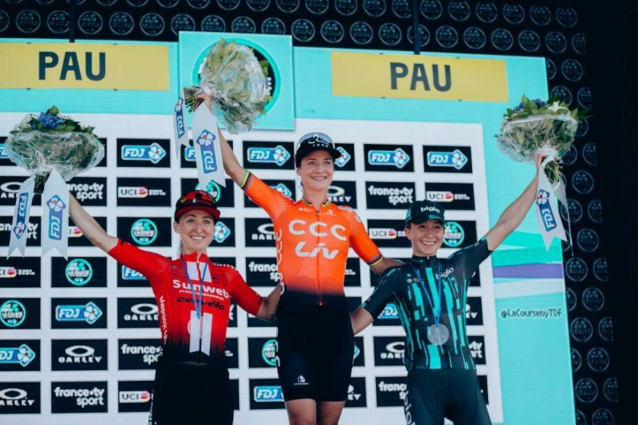 Canada's Leah Kirchmann on the podium in second at La Course by Le Tour de France 2019.