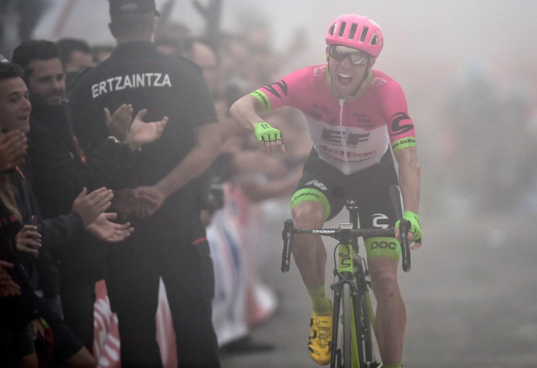 Cyclist celebrating on bike