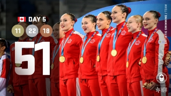 Lima Day 5 graphic, athletes standing with medals