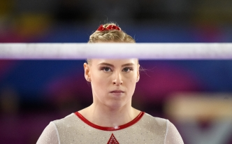 LIMA, Peru - Ellie Black competes in the uneven bars during artistic gymnastics at the Lima 2019 Pan American Games on July 27, 2019. Photo by Christopher Morris/COC