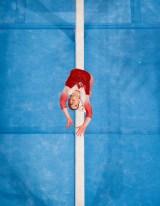 Aerial view of Ellie Black on beam