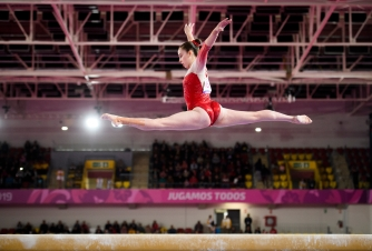 LIMA, Peru - Isabela Onyshko of Canada competes in the balance beam portion of artistic gymnastics at the Lima 2019 Pan American Games on July 27, 2019. Photo by Christopher Morris/COC