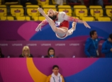 LIMA, Peru - Brooklyn Moors of Canada competes in artistic gymnastics at the Lima 2019 Pan American Games on July 27, 2019. Photo by Christopher Morris/COC