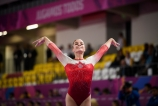 LIMA, Peru - Brooklyn Moors of Canada competes in the during artistic gymnastics at the Lima 2019 Pan American Games on July 27, 2019. Photo by Christopher Morris/COC