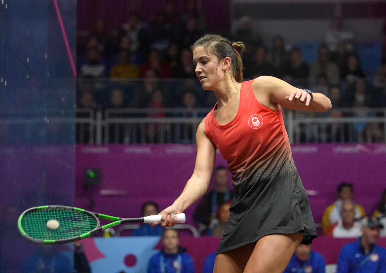 Samantha Cornett plays squash