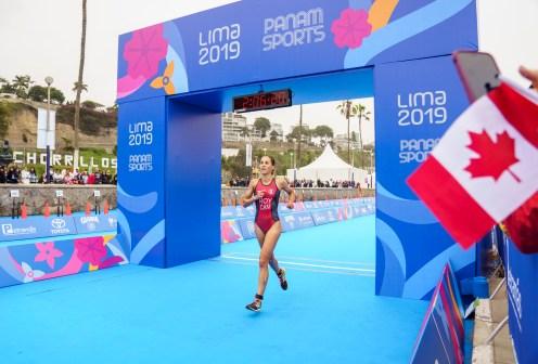 athlete crosses the finish line