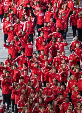 LIMA, Peru - Members of Team Canada enter the Estadio Nacional to officially start the Lima 2019 Pan American Games on July 26, 2019. Photo by Vincent Ethier/COC
