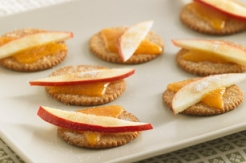 Cracker and apple slices on a plate