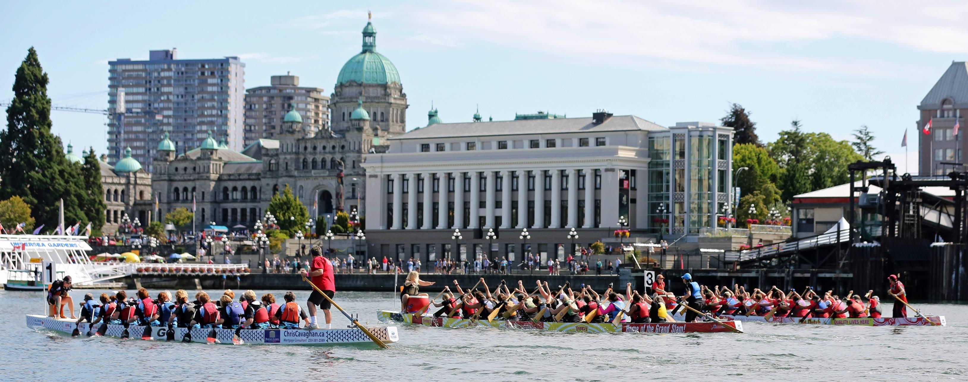 Rowing teams in the water