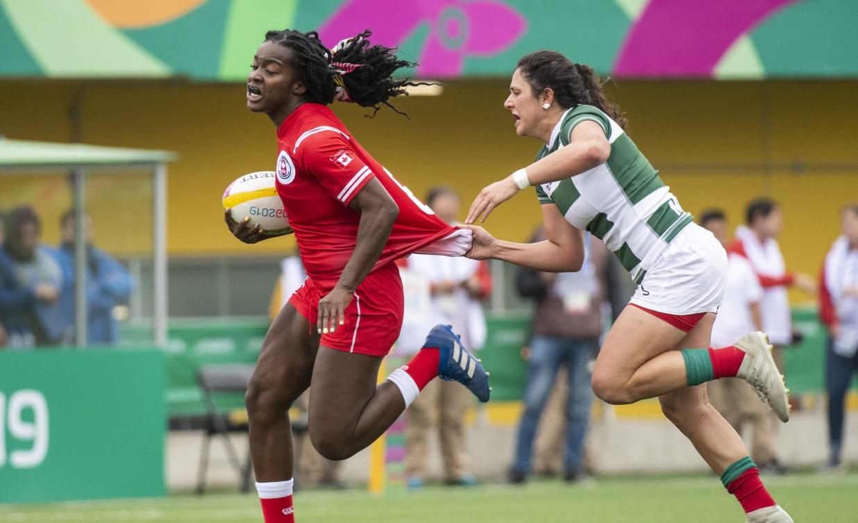 Pam Buisa fights off defender