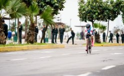 Laurie Jussaume on bike during a race