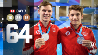 Lima Day 7 graphic, two athletes posing with medals
