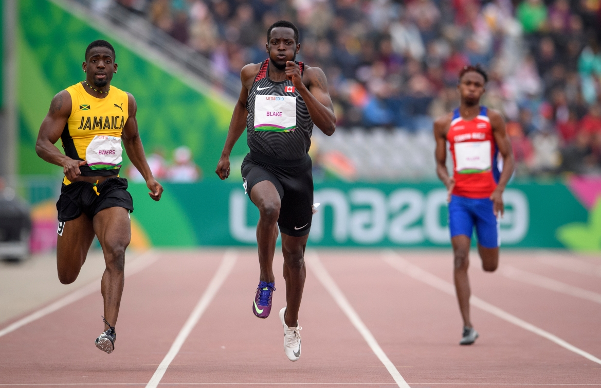 Jerome Blake of Canada competes in the men's 200m at the Lima 2019 Pan American Games.