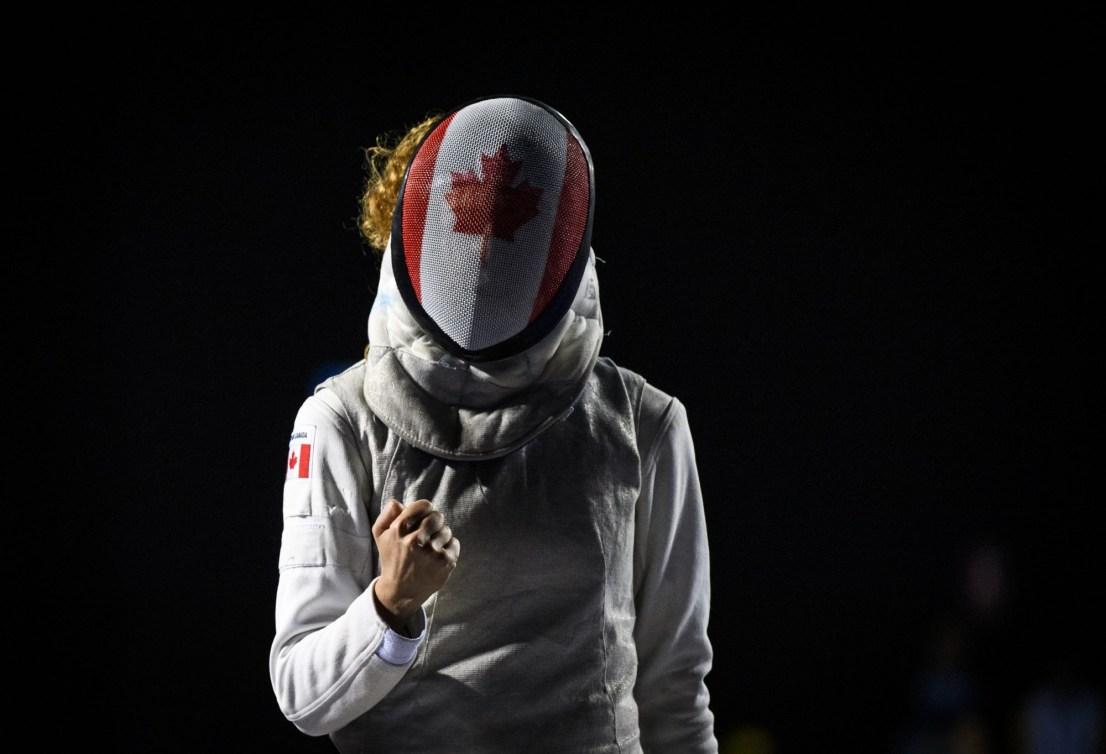 fencer celebrates a point