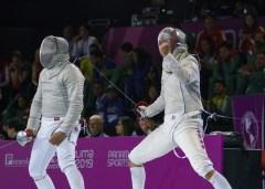 fencer pumps his fist